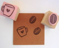 Coffee Mug and Bean Set of Hand Carved Mini Rubber Stamps