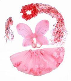"""Pink 4 Piece Flower Fairy Princess Costume Set. Includes Wand, Halo, Floating Flower Petal Tutu and Wings. by Lil Princess. $13.95. Lots of Curling Ribbons cascade down back of halo and wand. Fits girls approx ages 2-9. 4 Pc Pink Fairy Costume Set. Tulle tutu had floating petals. Measure approx 12"""" long. Wings Measure approx 14"""" by 13"""". Four piece Pretty in Pink Fairy costume includes Flower tutu with floating petals, medium kids fairy wings, Flower halo with cascading cu..."""