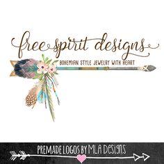 Arrow and Feathers Logo, Native American Logo, Premade Logo, Custom Logos, Watercolor Logos, Crystal logos, Boho Designs