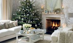 Fireplace and silver Christmas tree