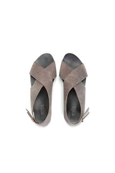 SUMMER SALE Flat Crossed Grey sandals by WalkByAnatDahari on Etsy, $140.00