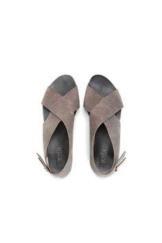 SUMMER SALE Flat Crossed Grey sandals by WalkByAnatDahari on Etsy, $140.00