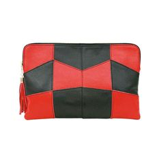 Red And Black Check pattern Leather Clutch In very cheap prices