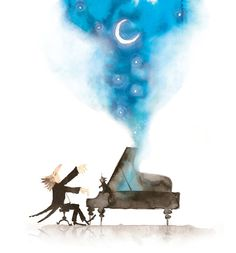 Moonlight Sonata, my absolute favourite song to play on the piano Music Painting, Watercolor Paintings, Best Profile Pictures, Disney Decals, Piano Art, Good Night Friends, Moon Drawing, 3d Drawings, Instruments
