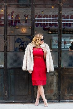3b605630e86 Christine Cameron wearing Nicole Miller red lace midi length dress with  zara silver strappy sandals and