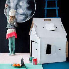 Stabiles Papphaus Casa Cabbanafür Kinder zum Selbstbemalen #design3000 #studioroof