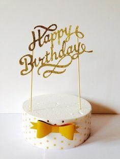 gold happy birthday cake topper - fancy cake topper,1st birthday, pink flower cake topper, birthday cupcake topper,30th 40th 50th birthday