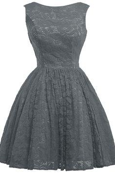 KAMA BRIDAL Scoop Neckline Tea-length Lace Princess Bridesmaid Dresses Size 2 US Steel Grey