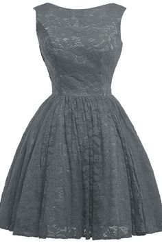 KAMA BRIDAL Scoop Neckline Tea-length Lace Princess Bridesmaid Dresses Size 2 US Steel Grey