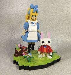 LEGO build of Alice in Wonderland and the White Rabbit Cheshire, Lego Boards, Lego Craft, Lego Builder, White Rabbits, Lego Toys, Cool Lego Creations, Alice In Wonderland Party, Lego Models