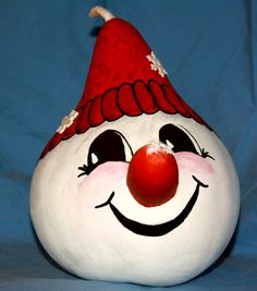 Snowman gourd with snowflakes on nose and by WeAreOutofOurGourds, $18.00