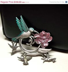 Sale Spoontiques Hummingbird Flower pin brooch pewter by dollherup #jewelry #sale