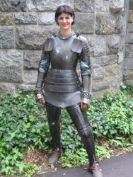 Lady in plate armour. Looks like LARP.
