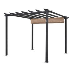 Create a beautiful outdoor space with this English Garden free-standing aluminum retractable canopy. The gray frame and taupe canopy match a range of outdoor furnishings and landscape designs while cr