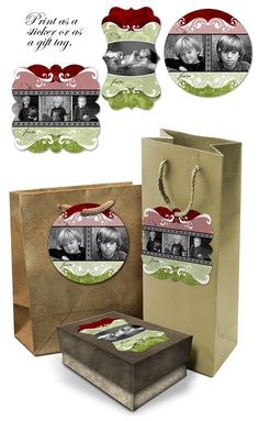 Xmas Photo Sticker and Gift Tag Templates
