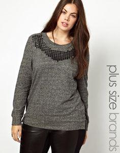 ASOS Curve Junarose Studded Sweater