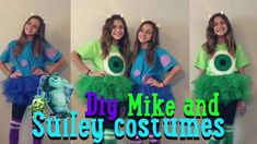 diy mike and sulley halloween costumes jaelyn and kaley Sully Halloween Costume, Mike And Sully Costume, Mike Wazowski Costume, Friend Costumes, Best Friend Halloween Costumes, Diy Costumes, Costume Ideas, Group Halloween, Family Costumes