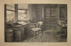 The library of Charles Dickens, as rendered via woodblock engraving and sepia ink on paper by Sir Samuel Luke Fildes, 1870.