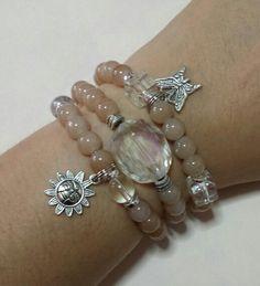 Brown glass beads set