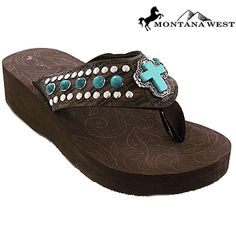 65689be44a223 Montana West Flip Flops Cross Turquoise Stone