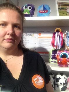 Belinda from @willowtreekids at the #BabyandToddlerShow in Sydney Sept 2014 with her ANA #GetIntoCloth badge! #clothnappies