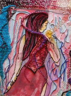 Collage, Mixed Media, Human Faces, Textiles, Painting, Art, Embroidery, Threading, Pictures