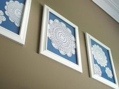 Lace dolies making a home decor statement on your walls, nice. Find this and other lace home decor ideas at decorandyouhr.com diy lace artwork