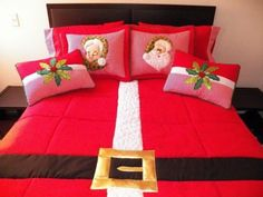 You could cheat and embellish a red quilt😜 Christmas Makes, Christmas Home, Christmas Holidays, Christmas Projects, Christmas Crafts, Christmas Ornaments, Christmas Bedding, Christmas Embroidery, Xmas Decorations