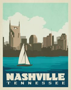 Buy Nashville Tennessee Vintage-Style Travel Posters and more on paper, framed, or canvas Nashville Downtown, Nashville Skyline, Nashville Tennessee, Skyline Painting, Skyline Art, Minimal Travel, City Illustration, Take Me Home, My New Room