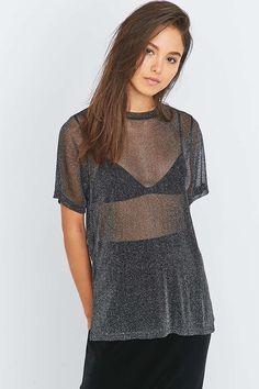 Light Before Dark Lurex Oversized T-shirt - Urban Outfitters