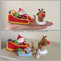 Crochet Santa in his sleigh and Rudolf. Crochet Santa, Crochet Amigurumi, Cute Crochet, Amigurumi Doll, Crochet Dolls, Crochet Crafts, Crochet Christmas Decorations, Christmas Crochet Patterns, Holiday Crochet