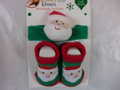 Infant Christmas Socks & Wrist Rattle Santa Green Red & White New  0 to 6 Months #Tenderkisses