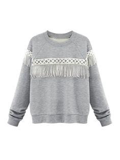 c771b30e61c24 Walkingon Plus Size Long Sleeve Loose Casual  Tassel  Pullovers Wholesale  Clothes Women