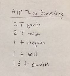 AIP Taco Seasoning - I already do this, but i leave out the oregano and add a bit of chili powder. Autoimmune Diet, Aip Diet, Dieta Aip, Nightshade Free Recipes, Anti Inflammatory Recipes, Smoothies, Auto Immune Paleo Recipes, Diet Recipes, Clean Recipes