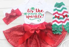 Girls Christmas Outfit Baby Girl Clothes Baby by NylaMarieKids