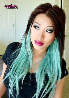 PICTURES OF BLUE, GREEN AND PURPLE HAIR | pastel hair mint pale green blue asian ombre rebel mac lipstick smokey ...