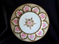 Noritake Nippon Antique Plate.  Gold moriage and beading over pink roses.