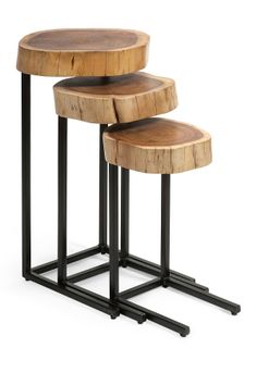 Nadera Wood and Iron Nesting Tables - Set of 3  $235 sale