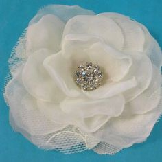 Bridal Hair Flower  Ivory Lace Organza and Tulle by HARTfeltart