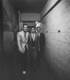 Pat Boone, Sal Mineo and Bobby Darin backstage, 1950s