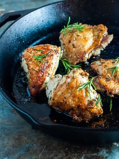 Rosemary skillet chicken.  This is the perfect weeknight chicken, as it only takes 30 minutes to roast up.  Bone-in, skin on chicken that's pan seared in a skillet locks in all the juices and flavor while creating a shatteringly crisp skin on the outside.