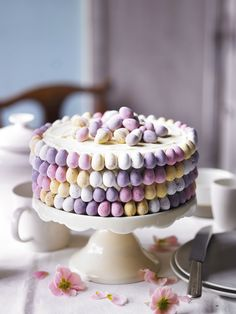 Martha Collison from The Great British Bake Off shows you her recipe for a beautiful ombré mini egg cake. Watch the recipe video on the Waitrose website. Perfect for Easter Sunday dessert or afternoon tea. Mini Eggs Cake Recipes, Easter Recipes, Dessert Recipes, Easter Desserts, Recipes Dinner, Cod Recipes, Spring Desserts, Lentil Recipes, Roast Recipes