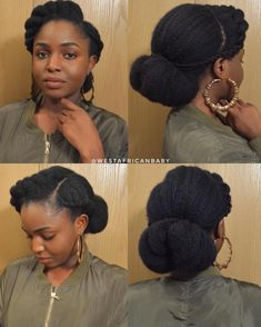 60 Easy and Showy Protective Hairstyles for Natural Hair Elegant Low Bun Updo For Natural Hair protective hair styling ideas for women Protective Hairstyles For Natural Hair, Natural Hair Updo, Natural Hair Care, Natural African Hair, Long Natural Hair Styles, Styling Natural Hair, 4b Natural Hairstyles, Natural Hair Wedding, Natural Hair Tutorials