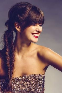 Party hairstyles for re-styling - Lange Haare Ideen Fishtail Braid Hairstyles, Braided Hairstyles Tutorials, My Hairstyle, Party Hairstyles For Long Hair, Hairstyles With Bangs, Cool Hairstyles, Long Hair With Bangs, Long Brown Hair, New Year Look