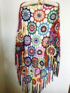 Colourful Crochet Shawl   Boho Gypsy Shawl   Hippie Patchwork   Colorful Gypsy Shawl   Handmade  100 cotton-merserized