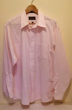 The Arrow Company Men's Wrinkle Free Oxford L/S Dress Shirt Size 17.5 Pink…