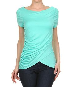 Look at this #zulilyfind! Mint Ruched-Side Wrap Top #zulilyfinds