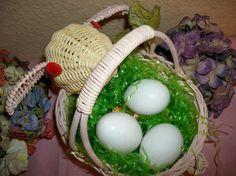 Easter Basket Pink Bunny Rabbit Pastel Wicker Vintge Egg Hunt Basket Gift Decor
