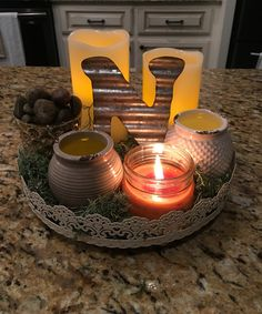 New centerpiece for my island in my kitchen. All pieces from dollar tree and…