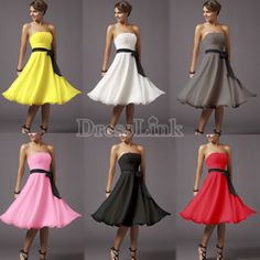 Lady Knee-Length Bridesmaid gown Party Evening Cocktail Dress skirt 6 Colors